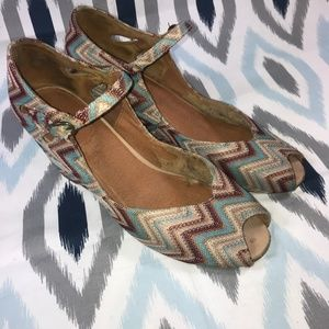 Jeffrey Campbell Zig Zag Pattern Open Toe Wedges